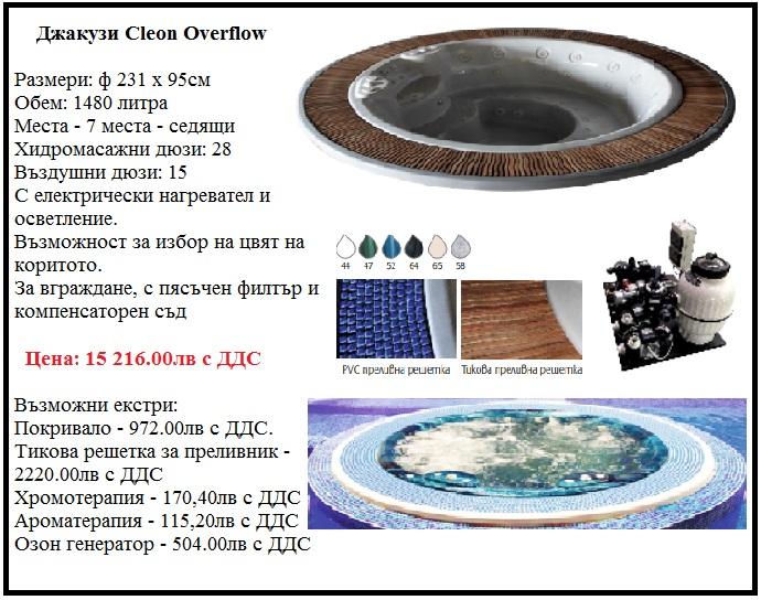 Джакузи Cleon Overflow с 7 места, 231х95см, джакузи за вграждане, с преливник
